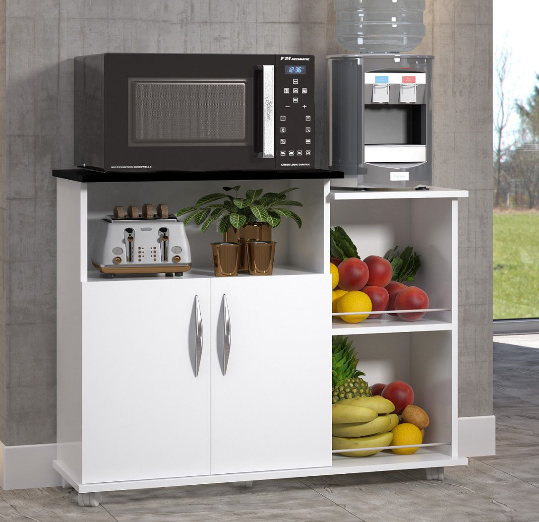 Fruteira Branco c/ Preto Utensílios p/ Cozinha 2 Portas Armazenamento
