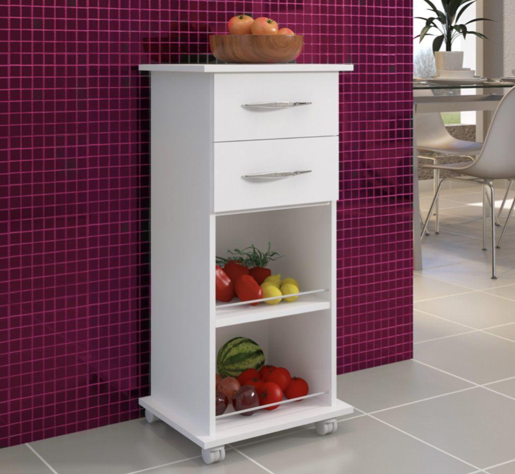 Fruteira Branco c/ Rodinhas Cozinha Base Organizador