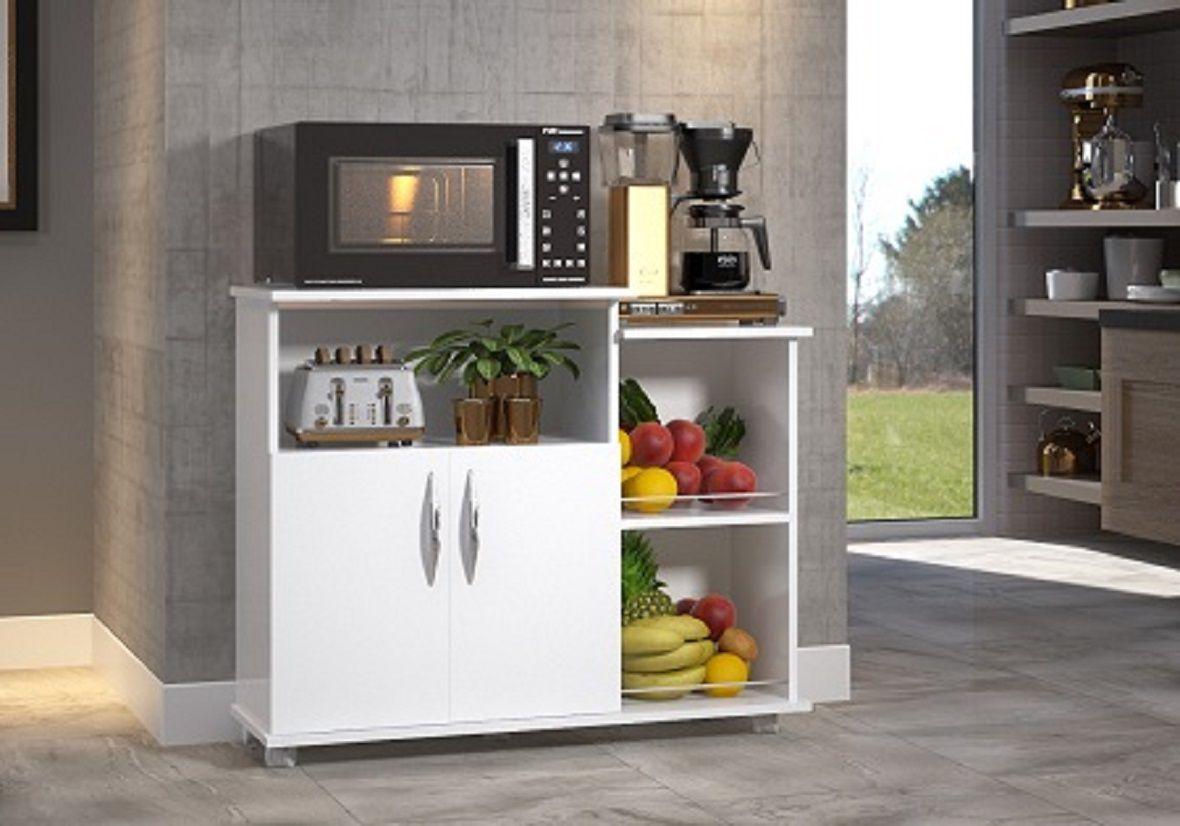 Fruteira Branco Multiuso c/ Rodinhas 2 Portas Cozinha