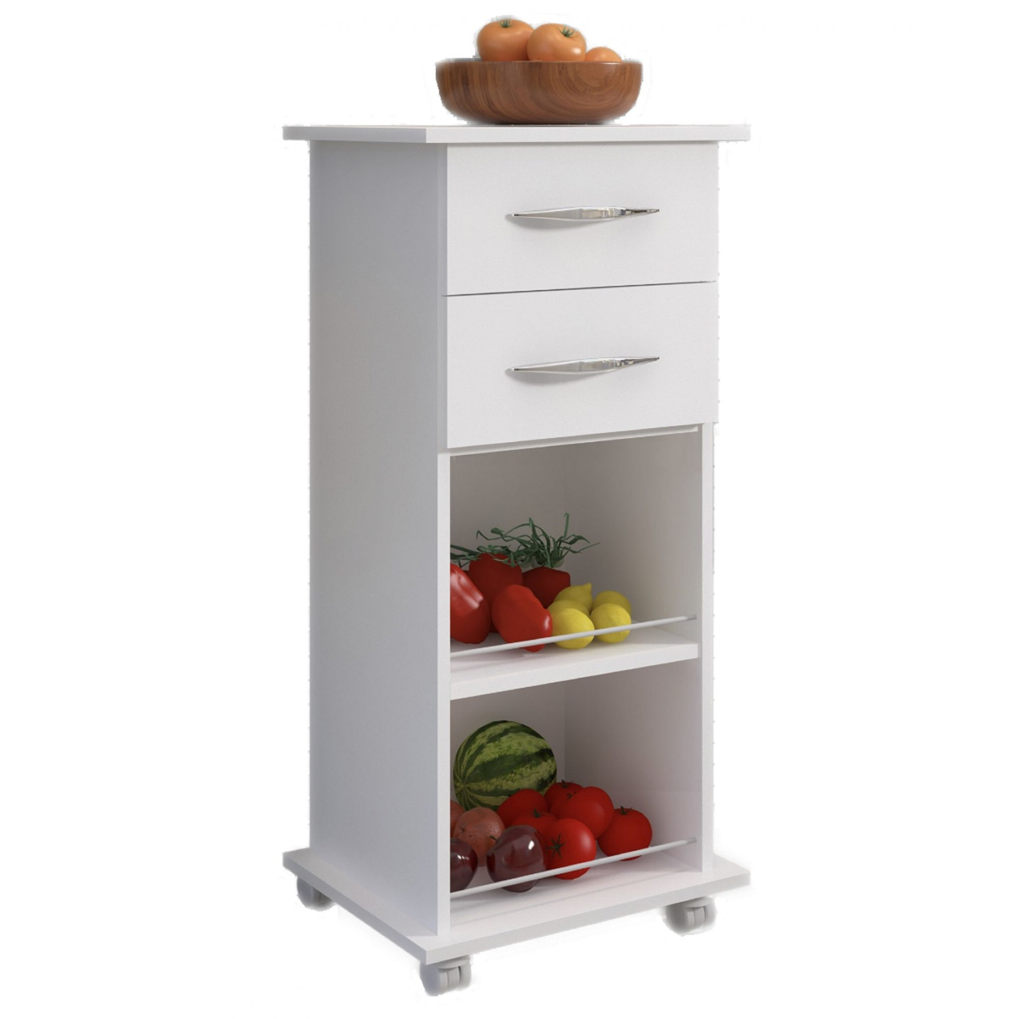 Fruteira c/ Rodinhas Cozinha Multiuso Base Armazenamento