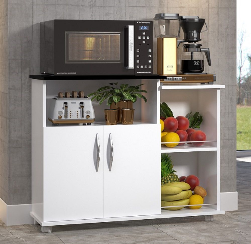 Fruteira Cozinha 2 Portas Multiuso Base Bebedouro Branco c/ Preto