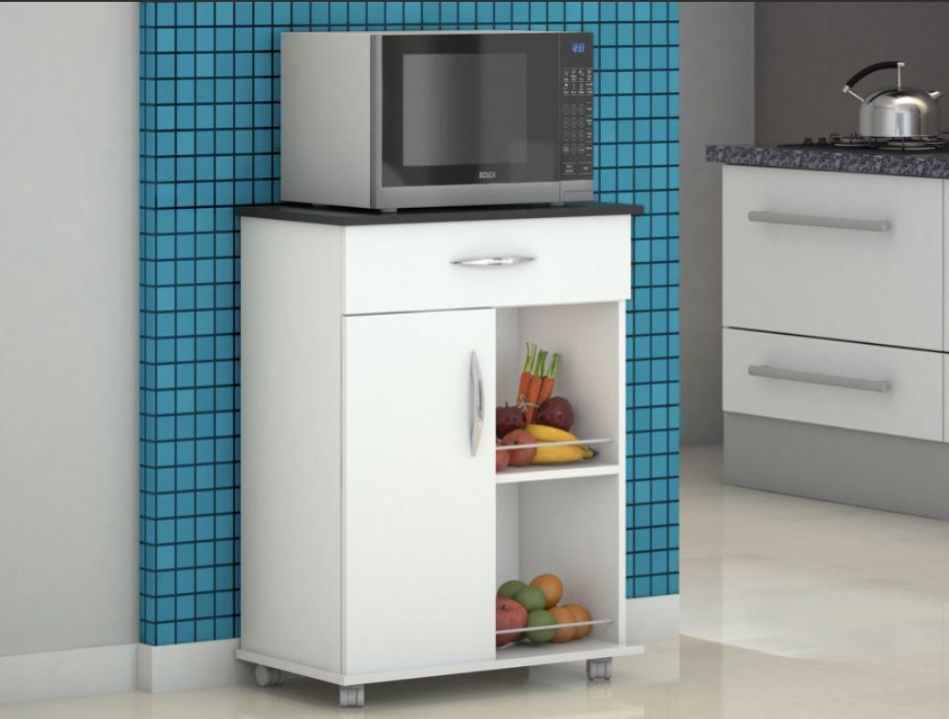 Fruteira Cozinha Armário Branco c/ Apoio Preto Utensilios