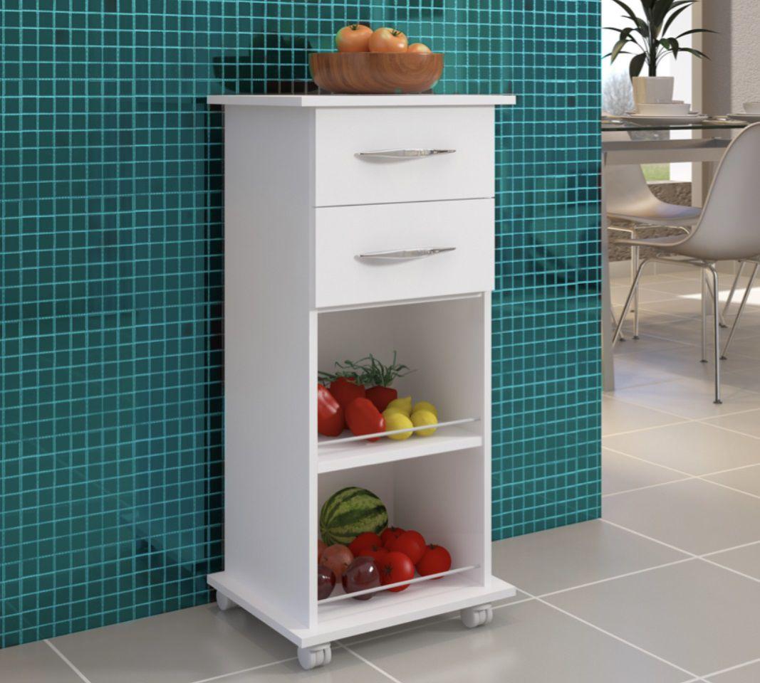Fruteira Cozinha Base Utensílios Multiuso Branco c/ Rodinhas