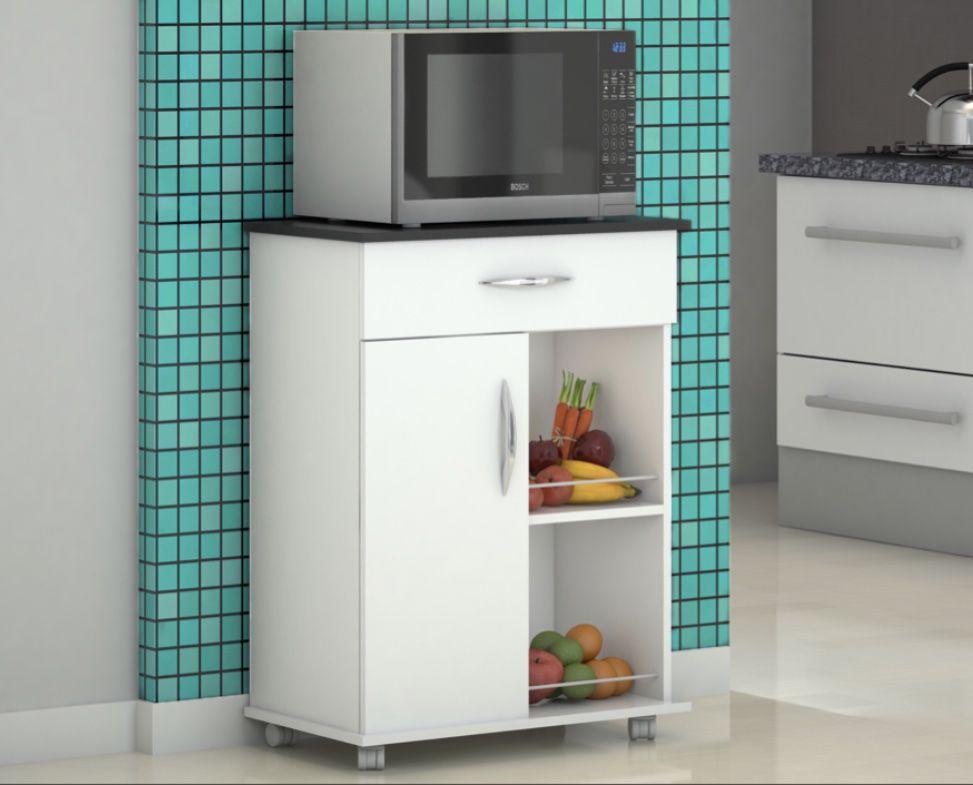Fruteira p/ Cozinha Balcão c/ Rodinhas  Preto 1 Porta 1 Gaveta