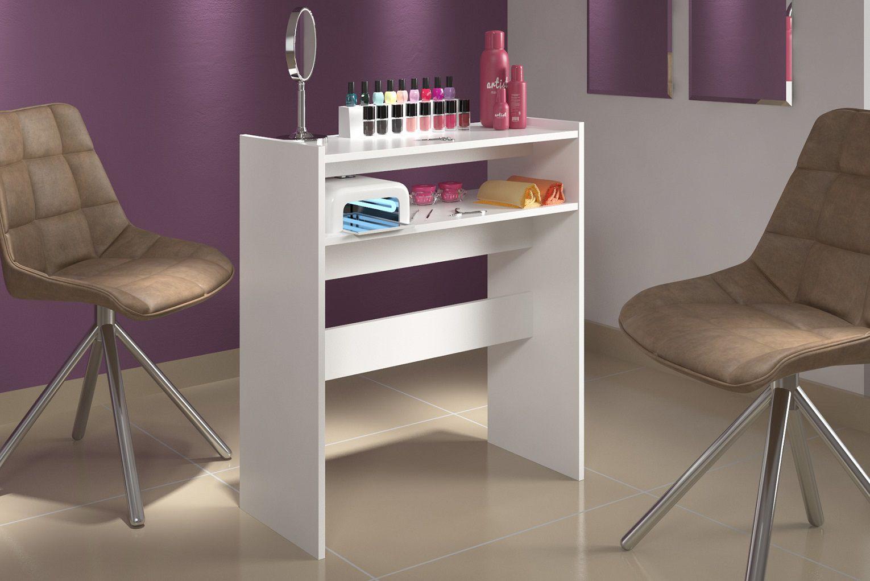 Mesa Bancada Manicure c/ Nicho Organizador  Salão de Beleza