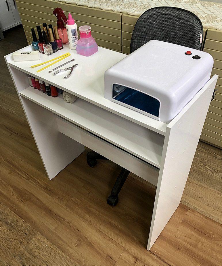 Mesa Manicure Prateleira Organizador de Esmaltes Branca
