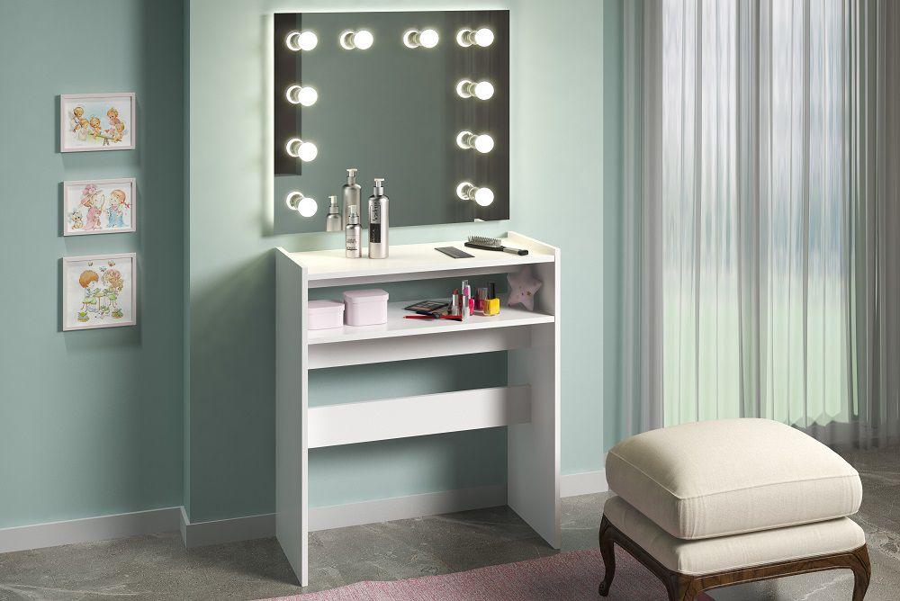 Mesa p/ Manicure c/ Prateleira Porta Esmaltes Multiuso Branco