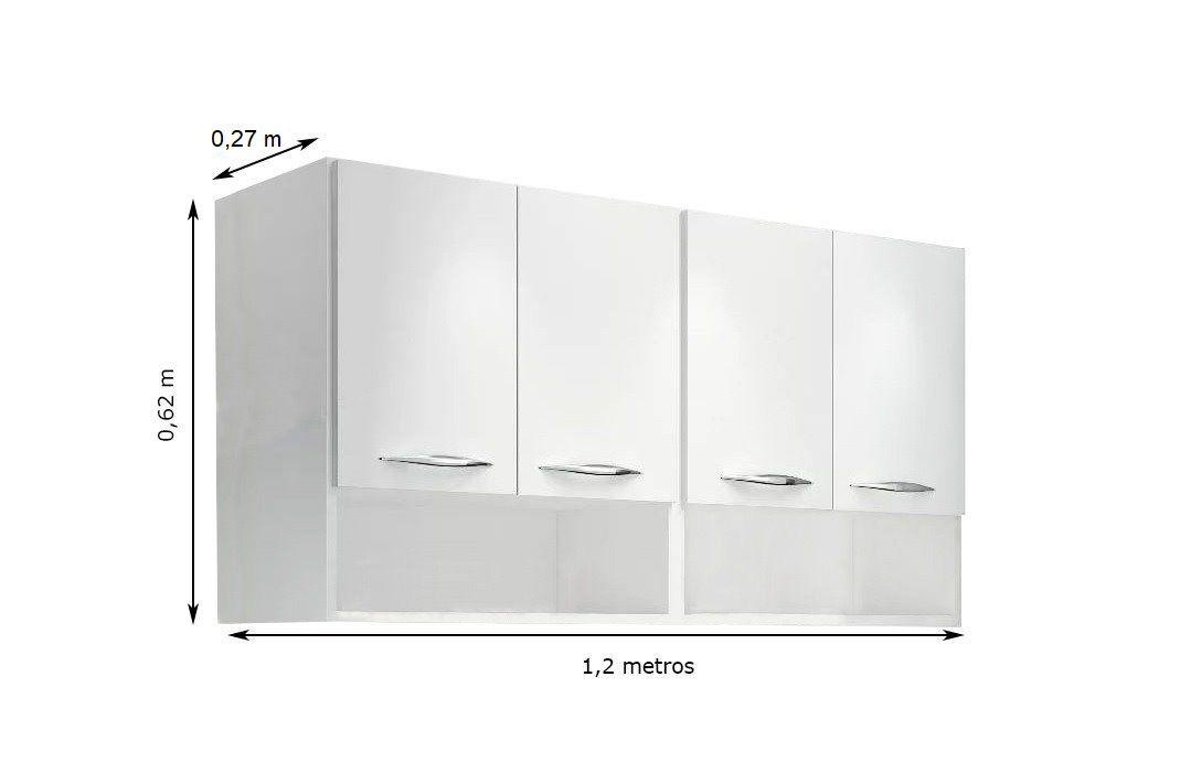 Módulo Aéreo 4 Portas 1,20m Armário Parede Cozinha Multiuso