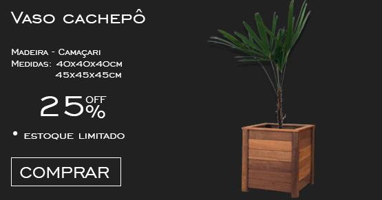 vaso cachepô em madeira maciça de camaçari
