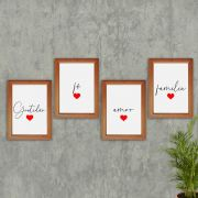 KIT 4 QUADROS DECORATIVO 20X29 CM