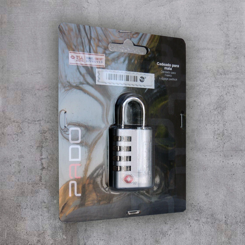 Cadeado zamac TSA sm executive 4 segredos prata