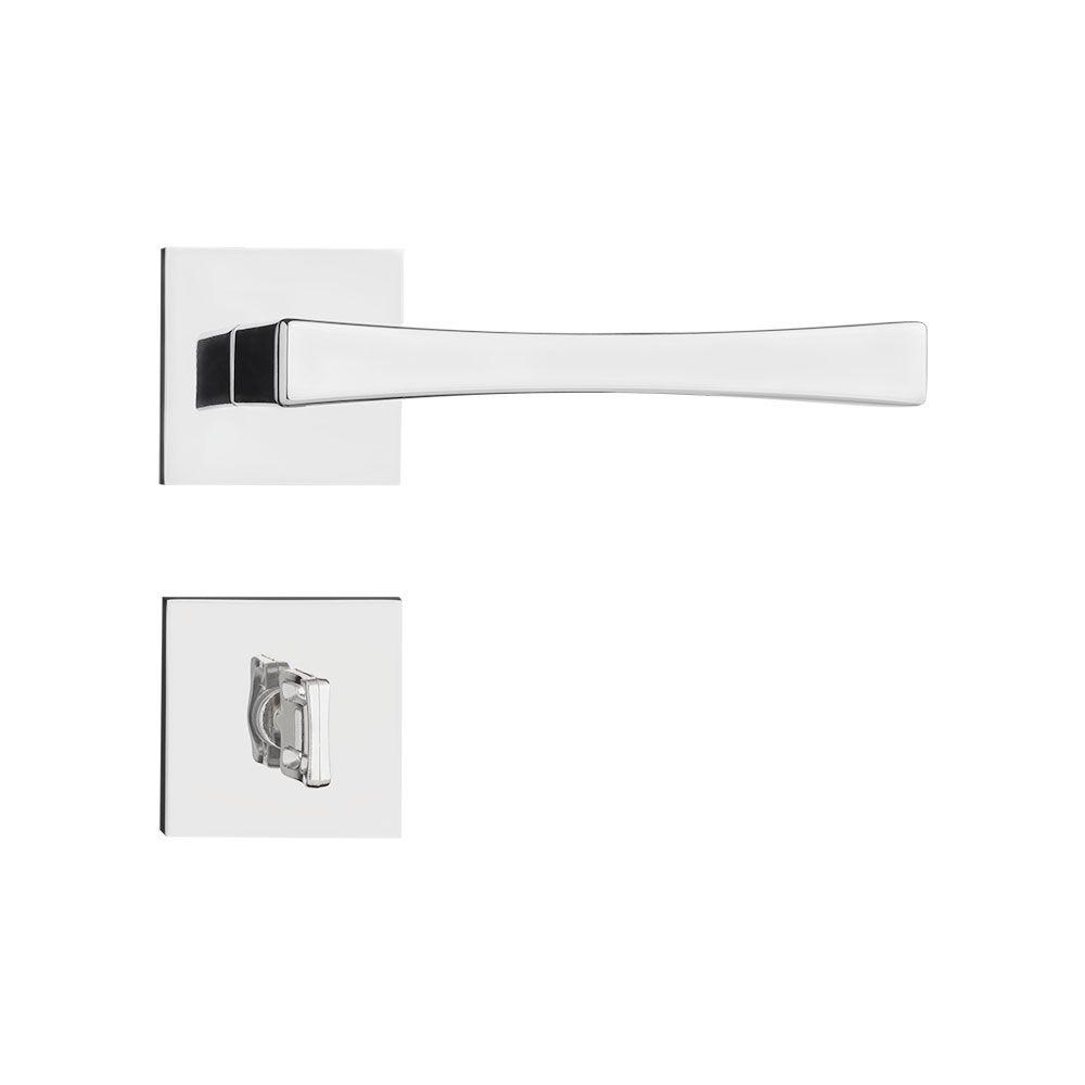 Kit 10 Fechadura Externa/Interna Pado Vivaldi Roseta Quadrada Escovada 55mm; 7 Fechadura Banheiro Pado Vivaldi Roseta Quadrada Escovada 55mm
