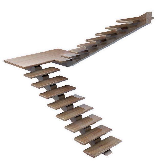 Escada suspensa de madeira em cumaru