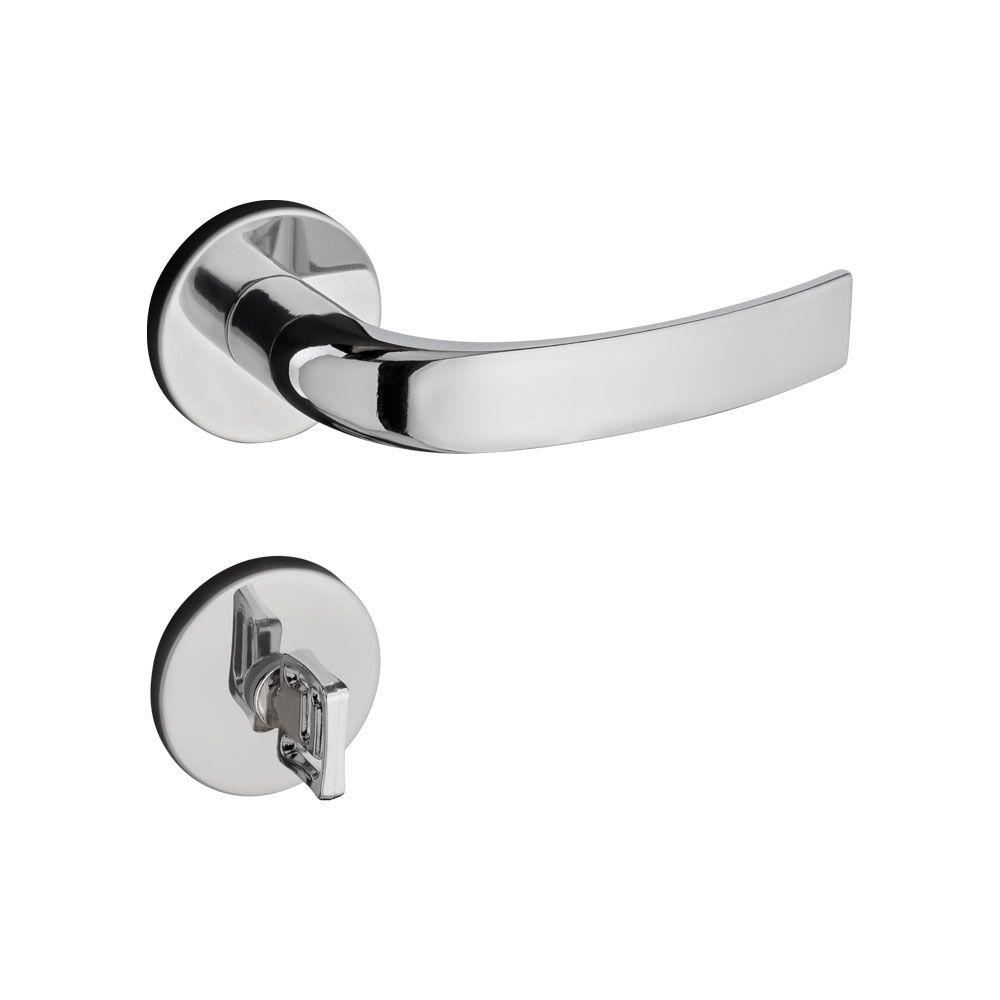 Fechadura Banheiro Pado Copa Roseta Redonda Cromada 40mm
