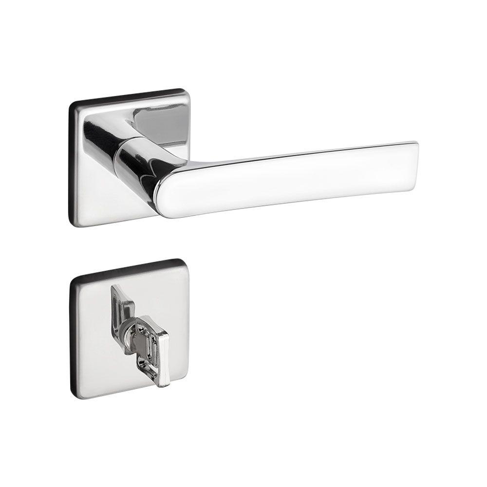 Fechadura Banheiro Pado Fabri Roseta Quadrada Cromada 40mm