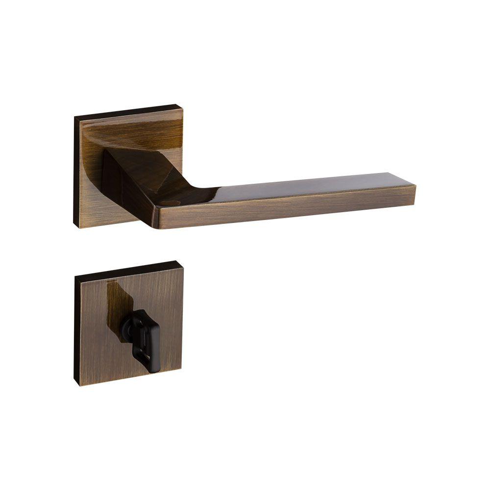 Fechadura Banheiro Pado Karli Roseta Quadrada Bronze 55mm