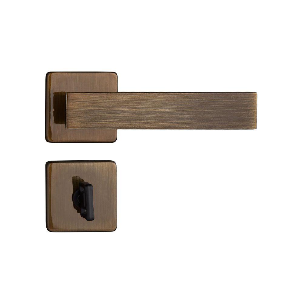 Fechadura Banheiro Pado Quadra Roseta Quadrada Bronze 40mm
