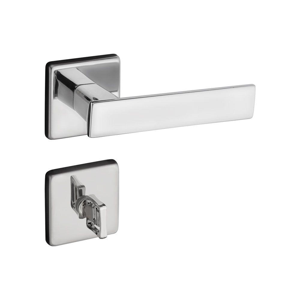 Fechadura Banheiro Pado Quadra Roseta Quadrada Cromada 40mm