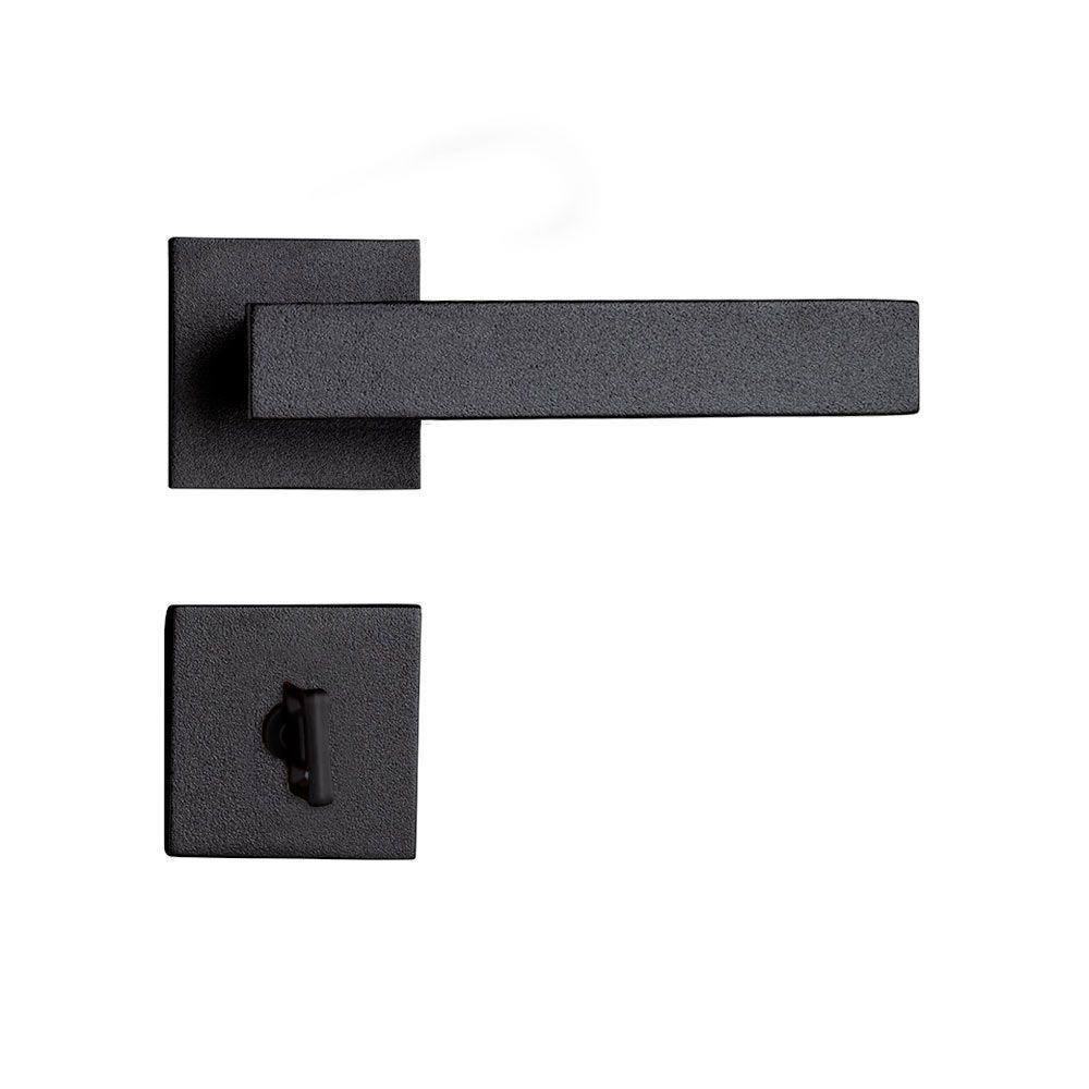 Fechadura Banheiro Pado Retro Roseta Quadrada Preta 55mm