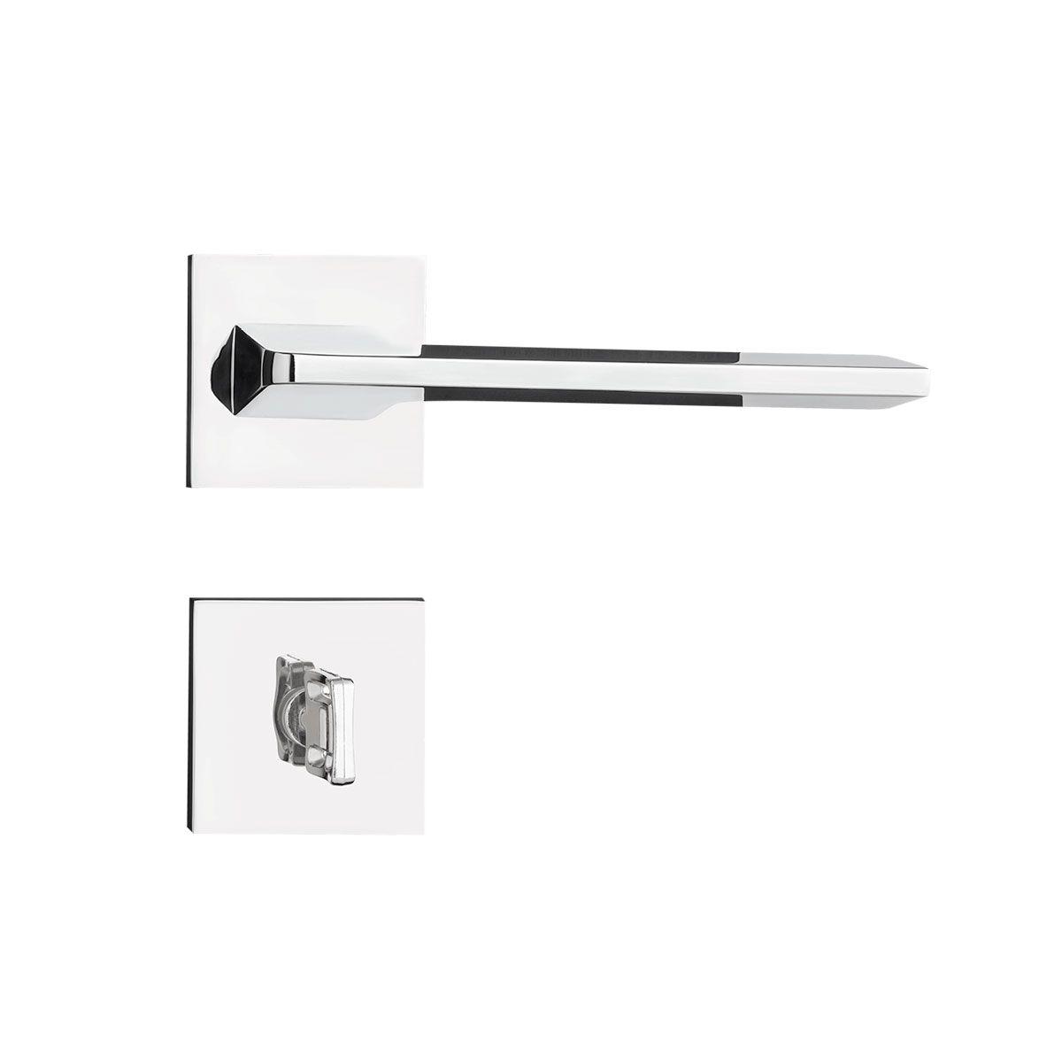Fechadura Banheiro Pado Sara Roseta Quadrada Cromada 55mm
