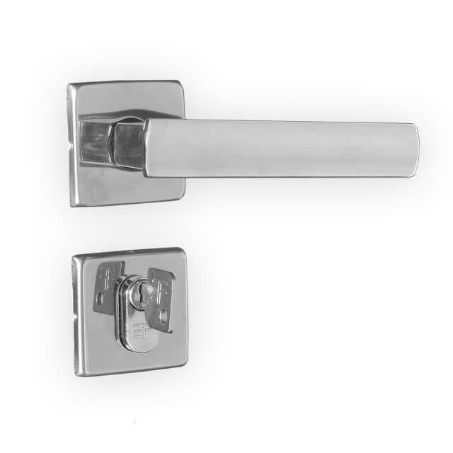 Fechadura Externa 3F Design Roseta Quadrada Cromada 40mm