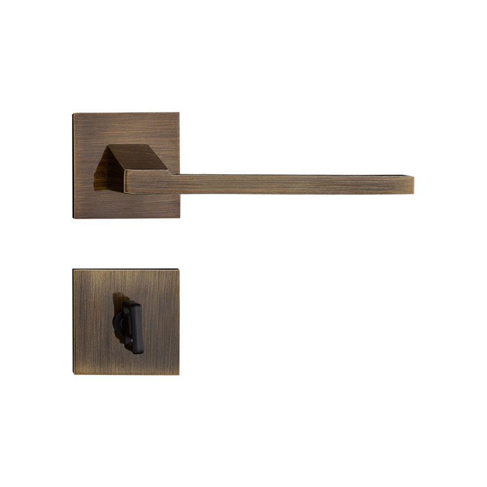 Fechadura Banheiro Pado Chopin Roseta Quadrada 55mm Bronze