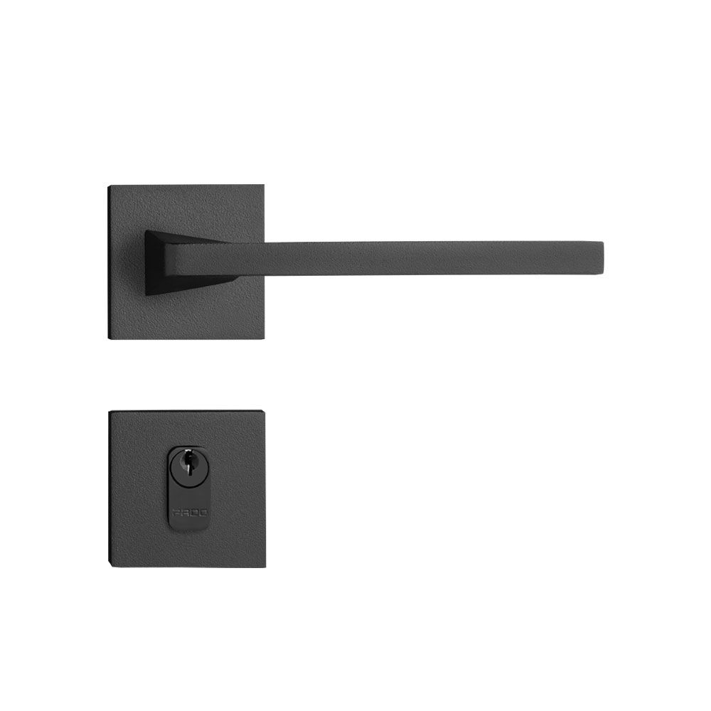 Fechadura Externa Pado Karli Roseta Quadrada Preta 55mm