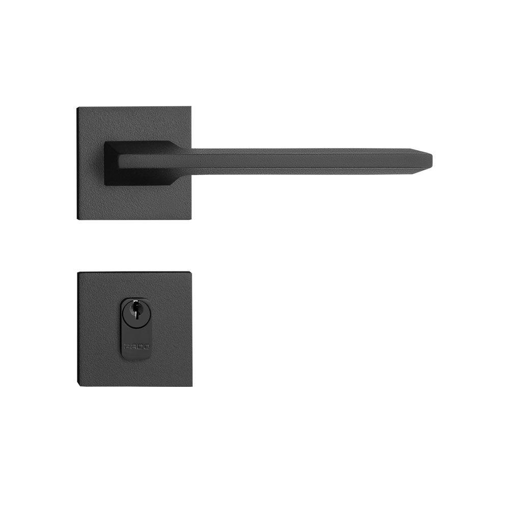 Fechadura Externa Pado Sara Roseta Quadrada Preta 55mm