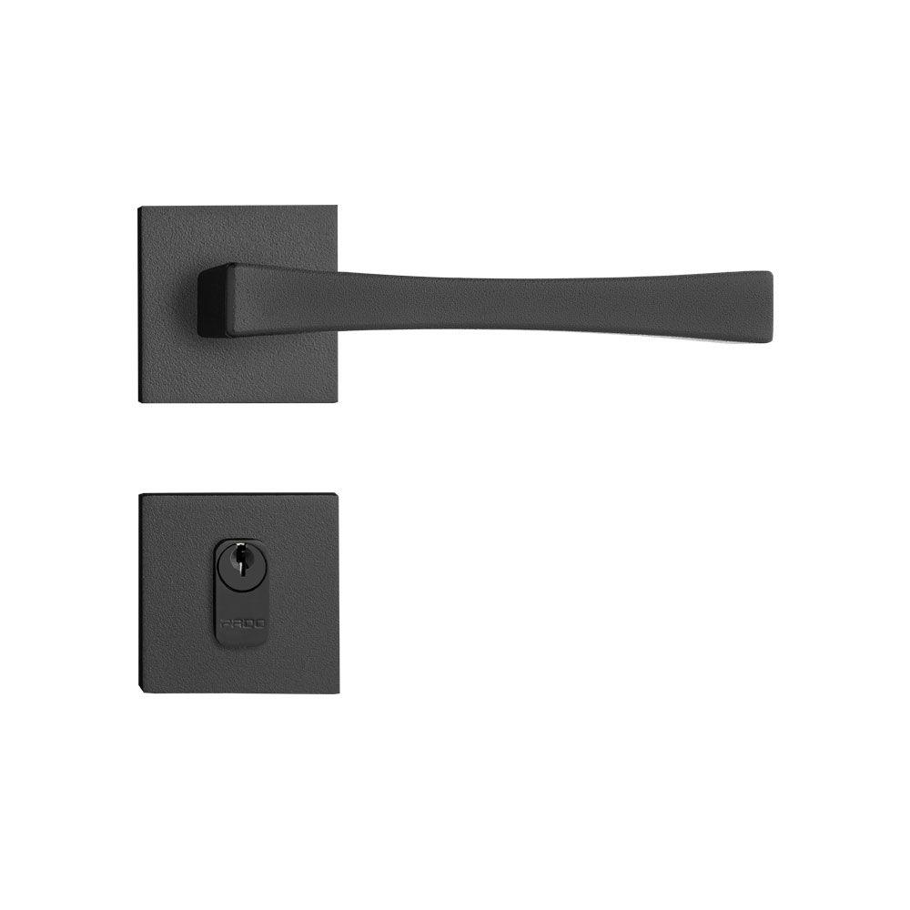 Fechadura externa/Interna Pado Vivaldi Roseta Quadrada Preta 55mm