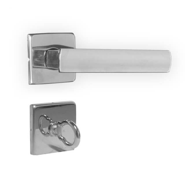 Fechadura Banheiro 3F Design Roseta Quadrada Cromada 40mm
