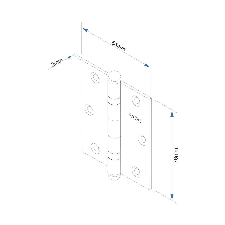 KIT Cartelas de Dobradiças Pado com  Rolamento: 7 - 3025/CR e 2 - 3025/ACR