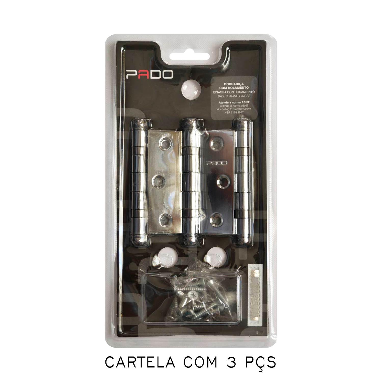 Kit Com 3 Cartelas De Dobradiça Pado Com Rolamento 3530/cr