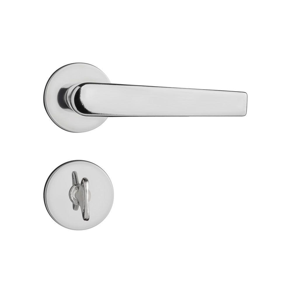 Kit Fechadura Pado Concept Cromada: 3 Banheiro e 3 Externa