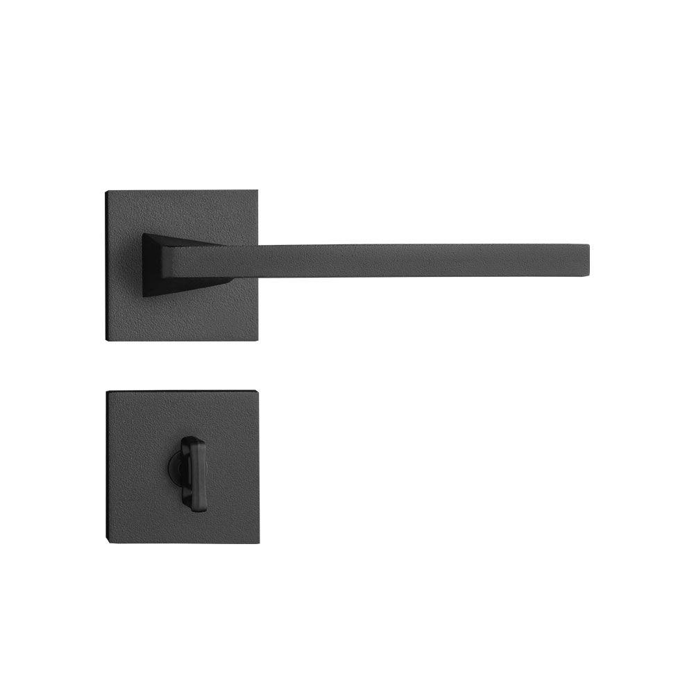 Kit Fechadura Pado  Karli Preta: 4 banheiro e 3 Externa Quadrada 55mm.