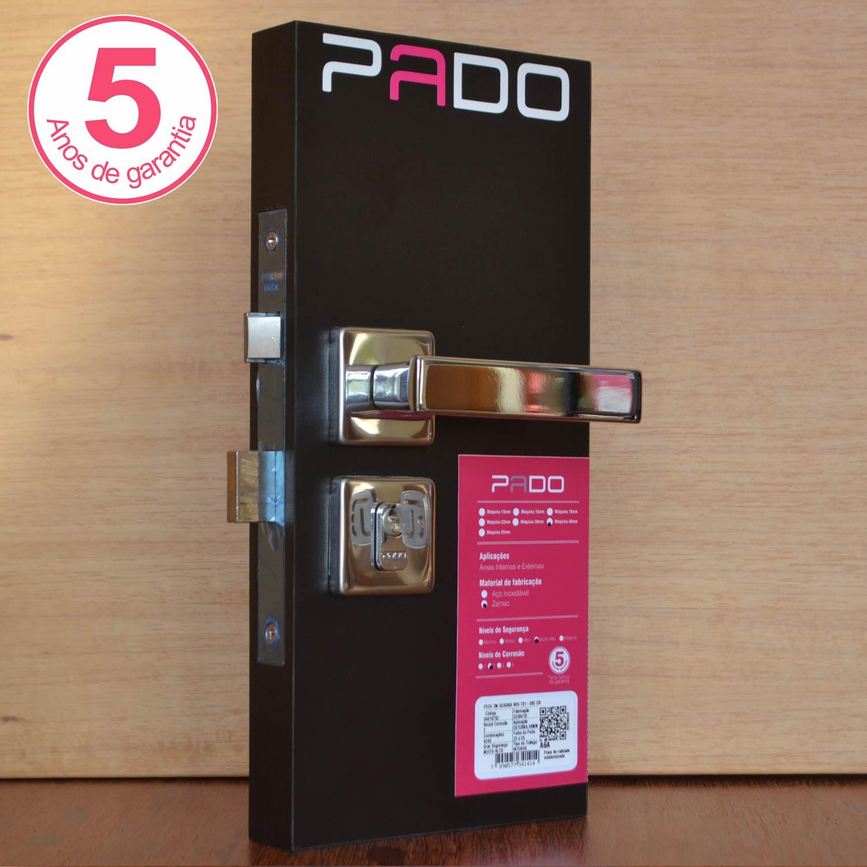Kit Fechadura Pado-quadra Roseta 01-wc/03-externas Cromada 40mm
