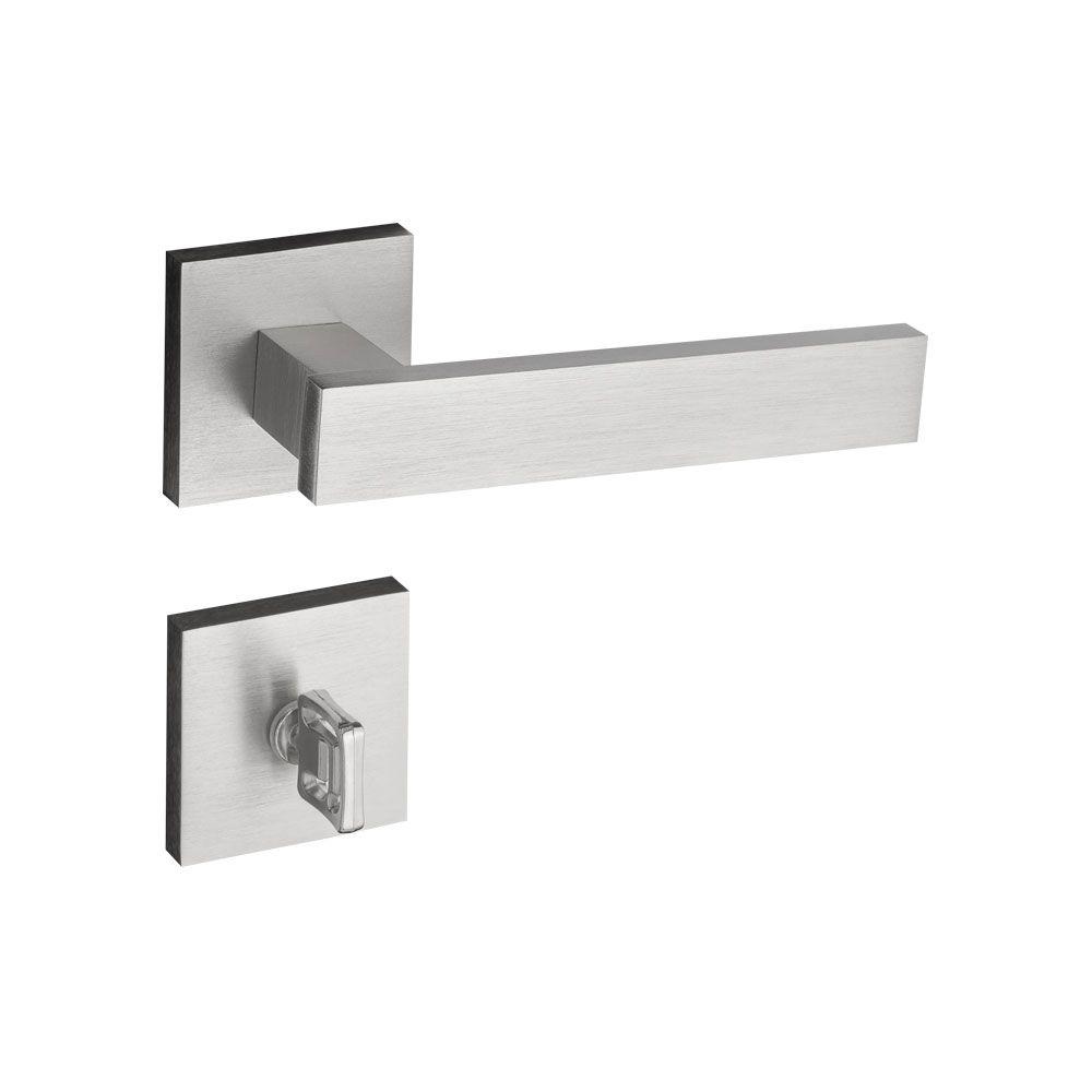 Kit Fechadura Pado  Retro escovada: 4 banheiro e 10 Externa Quadrada 55mm.