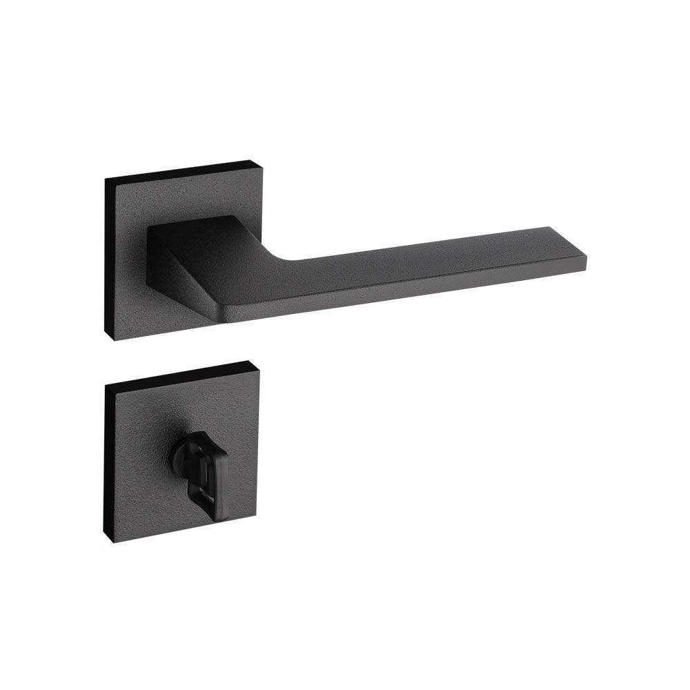 Kit Fechadura Pado  Sara Preta: 3 banheiro e 3 Externa/Interna Quadrada 55mm.