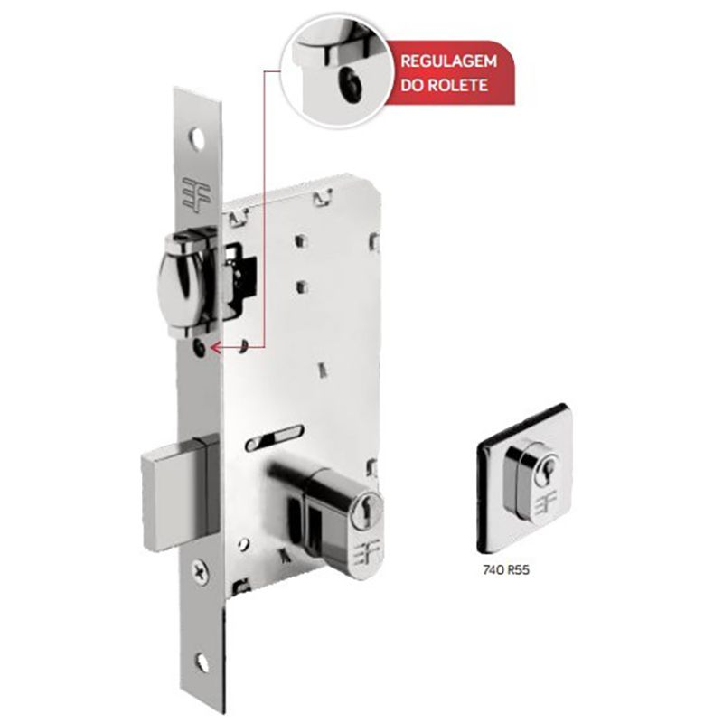Kit para porta pivotante Light Fechadura 55mm + pino pivotante