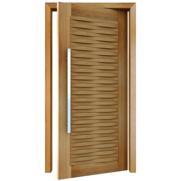 Porta Pivotante de Madeira Maciça 1,2x2,10m Modelo pp - Onda Freijó