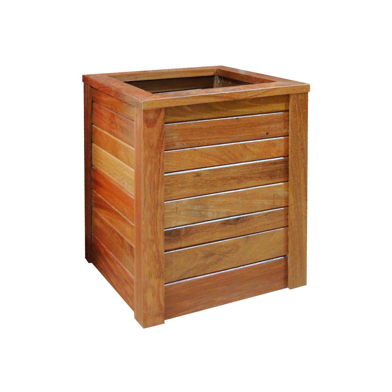 Vaso Cachepot em madeira maciça 36x36x47cm