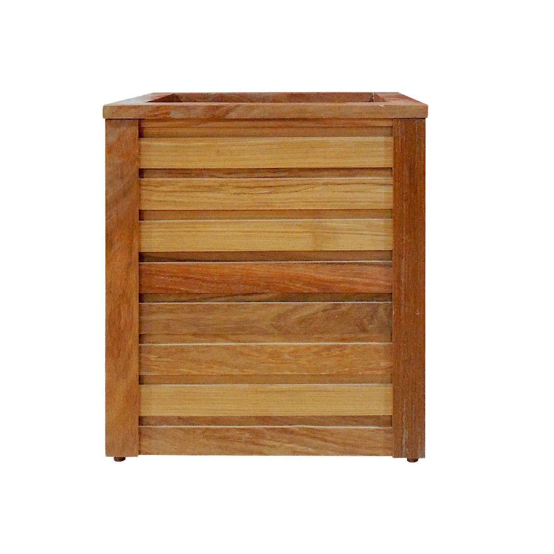 Vaso Cachepot em madeira maciça 42x42x45cm