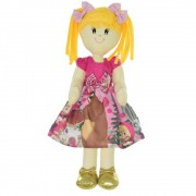 Boneca de Pano Helo com vestido no tema Masha e o Urso Rosa