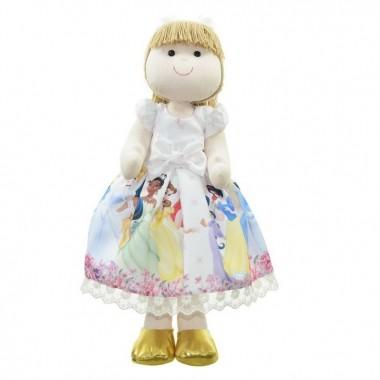 Boneca de Pano Pri com vestido no tema Princesas da Disney