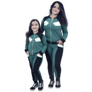Conjunto Moletinho Mãe e Filha Verde com Preto