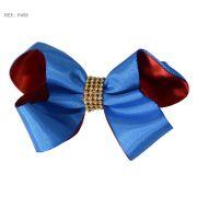Laço liso azul com vermelho