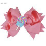 Laço para cabelo liso rosa com pirulito - doce