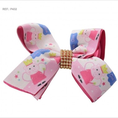 Laço temático da Peppa Pig rosa