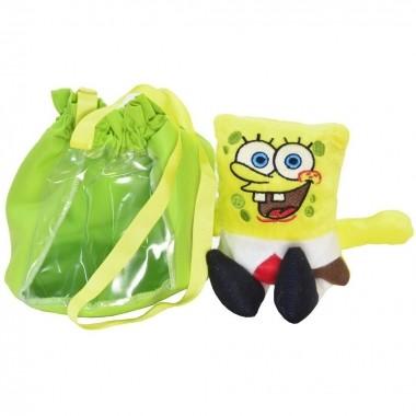 Pelúcia do Bob Esponja Amarelo e Bolsa Verde