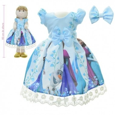 Roupa para Boneca de Pano tema Frozen Elsa e a Anna - Vestido