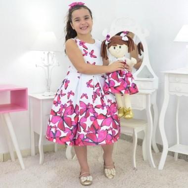 Tal Menina Tal Boneca Mari - Vestido Branco E Borboletas Rosas